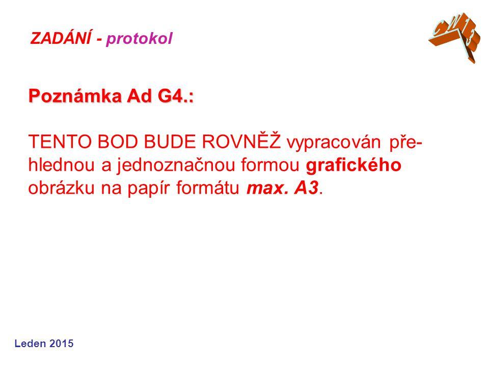 Leden 2015 Poznámka Ad G4.: Poznámka Ad G4.: TENTO BOD BUDE ROVNĚŽ vypracován pře- hlednou a jednoznačnou formou grafického obrázku na papír formátu max.