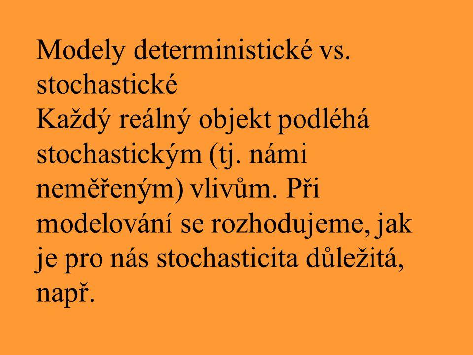 Modely deterministické vs. stochastické Každý reálný objekt podléhá stochastickým (tj. námi neměřeným) vlivům. Při modelování se rozhodujeme, jak je p