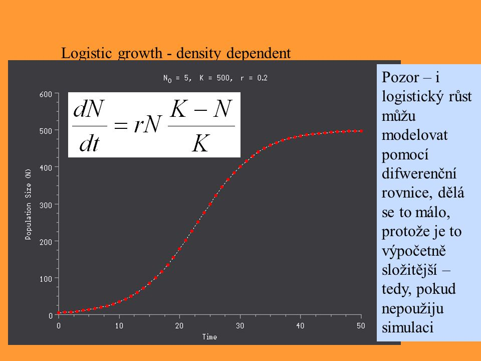 Logistic growth - density dependent Pozor – i logistický růst můžu modelovat pomocí difwerenční rovnice, dělá se to málo, protože je to výpočetně slož