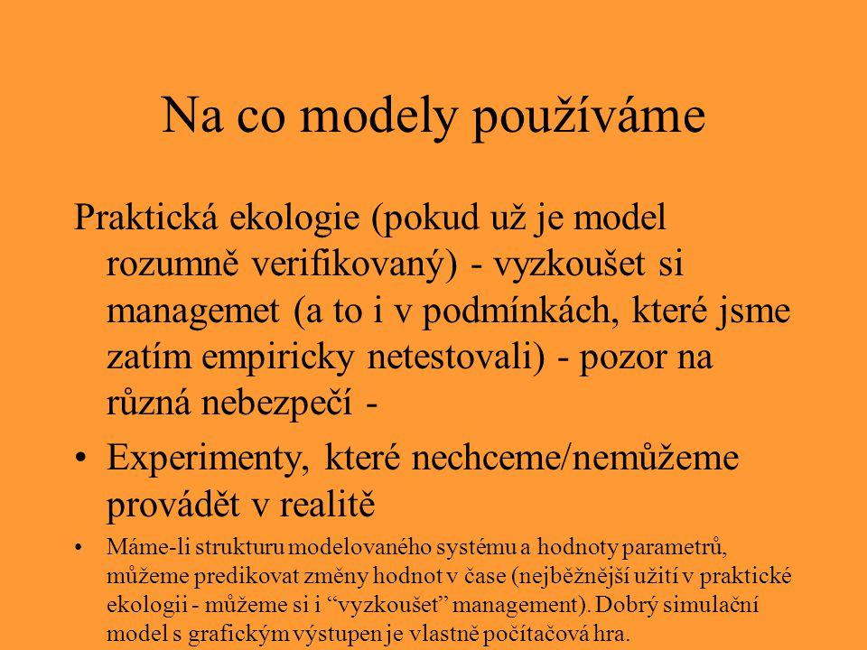 Na co modely používáme Praktická ekologie (pokud už je model rozumně verifikovaný) - vyzkoušet si managemet (a to i v podmínkách, které jsme zatím emp