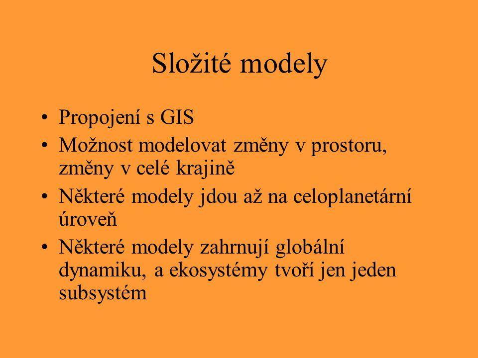 Složité modely Propojení s GIS Možnost modelovat změny v prostoru, změny v celé krajině Některé modely jdou až na celoplanetární úroveň Některé modely