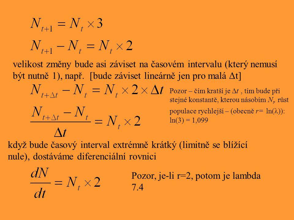 velikost změny bude asi záviset na časovém intervalu (který nemusí být nutně 1), např. [bude záviset lineárně jen pro malá Δt] když bude časový interv