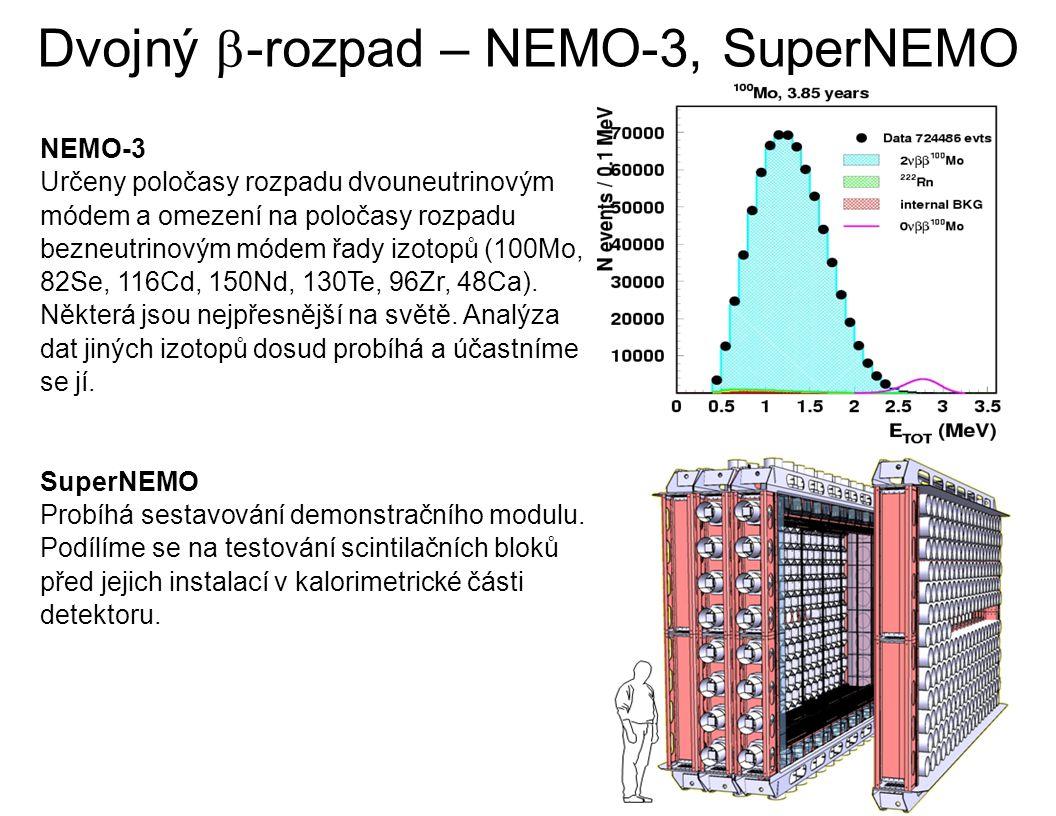 Dvojný  -rozpad – NEMO-3, SuperNEMO NEMO-3 Určeny poločasy rozpadu dvouneutrinovým módem a omezení na poločasy rozpadu bezneutrinovým módem řady izotopů (100Mo, 82Se, 116Cd, 150Nd, 130Te, 96Zr, 48Ca).