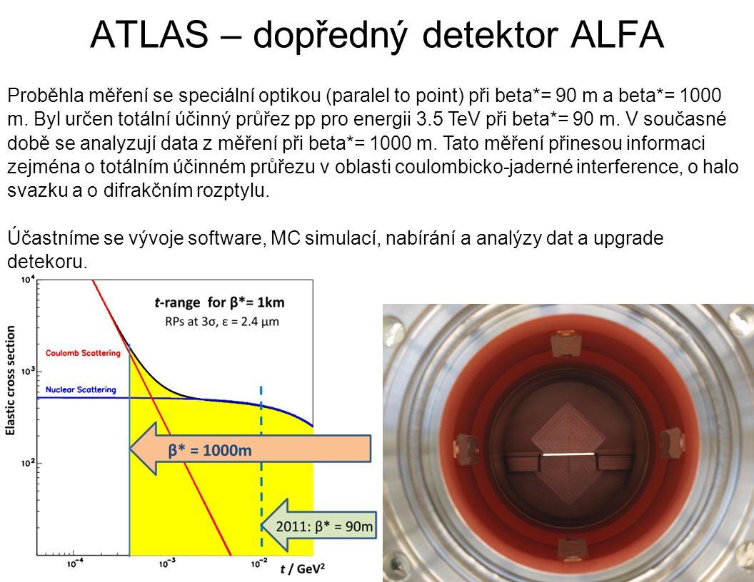ATLAS – dopředný detektor ALFA Proběhla měření se speciální optikou (paralel to point) při beta*= 90 m a beta*= 1000 m. Byl určen totální účinný průře