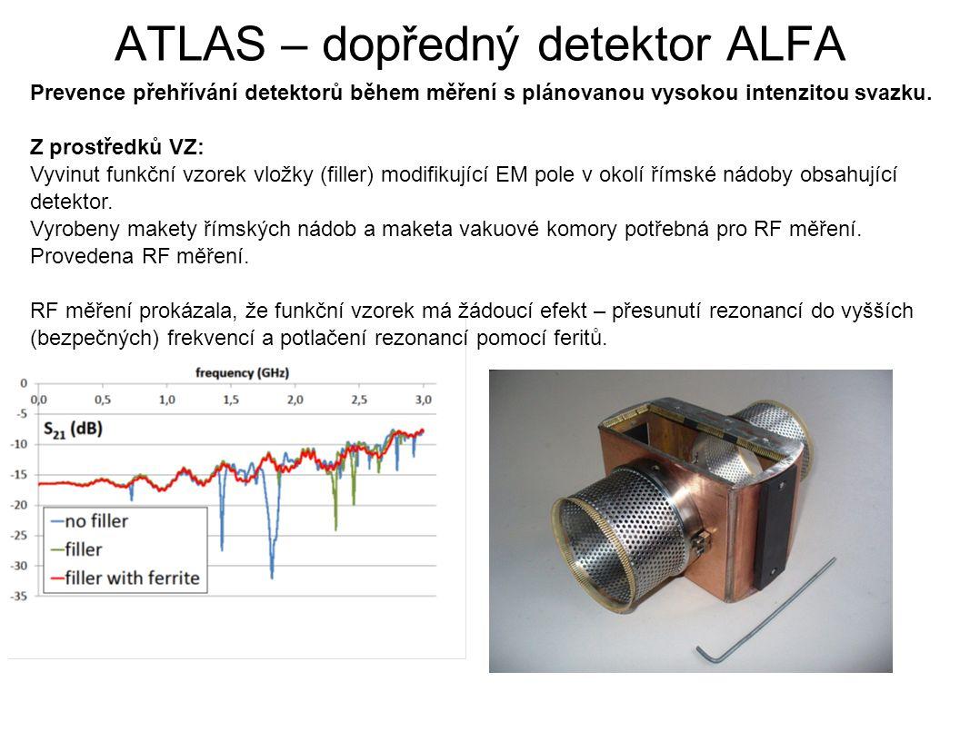 ATLAS – dopředný detektor ALFA Prevence přehřívání detektorů během měření s plánovanou vysokou intenzitou svazku. Z prostředků VZ: Vyvinut funkční vzo