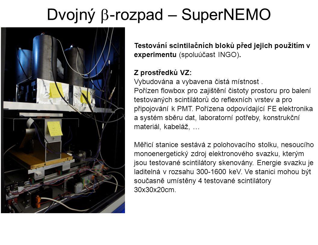 Dvojný  -rozpad – SuperNEMO Testování scintilačních bloků před jejich použitím v experimentu (spoluúčast INGO). Z prostředků VZ: Vybudována a vybaven