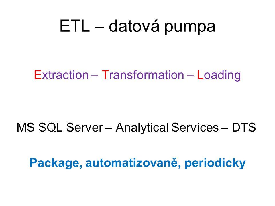 ETL – datová pumpa Extraction – Transformation – Loading MS SQL Server – Analytical Services – DTS Package, automatizovaně, periodicky