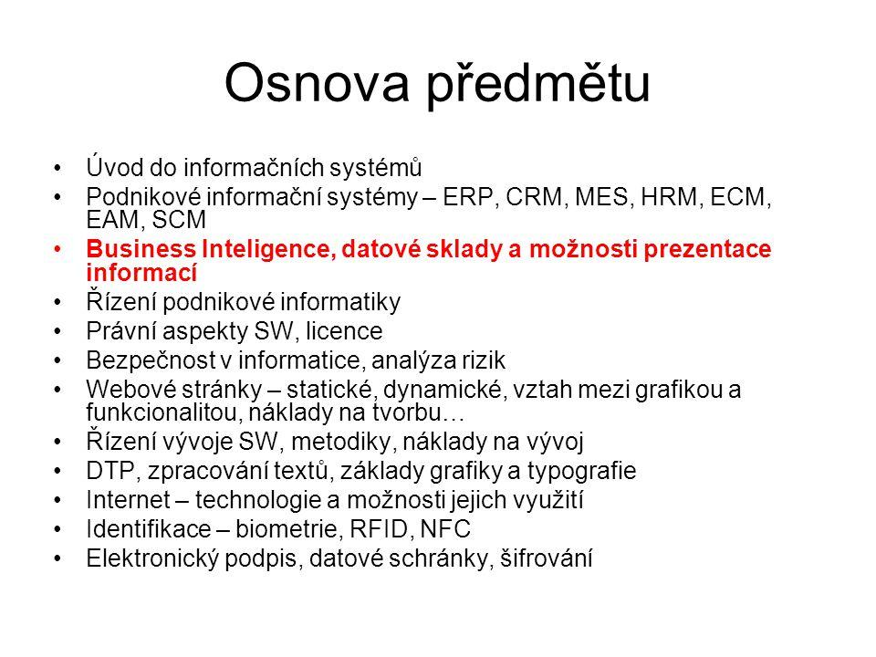 Osnova předmětu Úvod do informačních systémů Podnikové informační systémy – ERP, CRM, MES, HRM, ECM, EAM, SCM Business Inteligence, datové sklady a mo