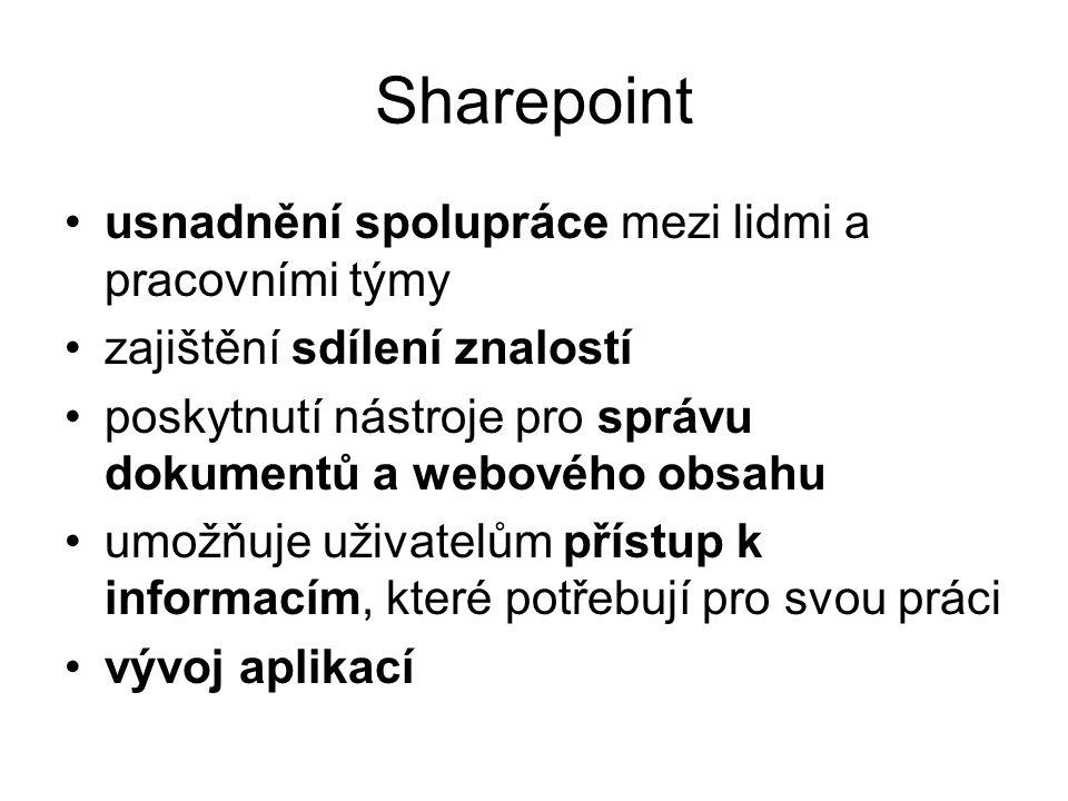 Sharepoint usnadnění spolupráce mezi lidmi a pracovními týmy zajištění sdílení znalostí poskytnutí nástroje pro správu dokumentů a webového obsahu umožňuje uživatelům přístup k informacím, které potřebují pro svou práci vývoj aplikací