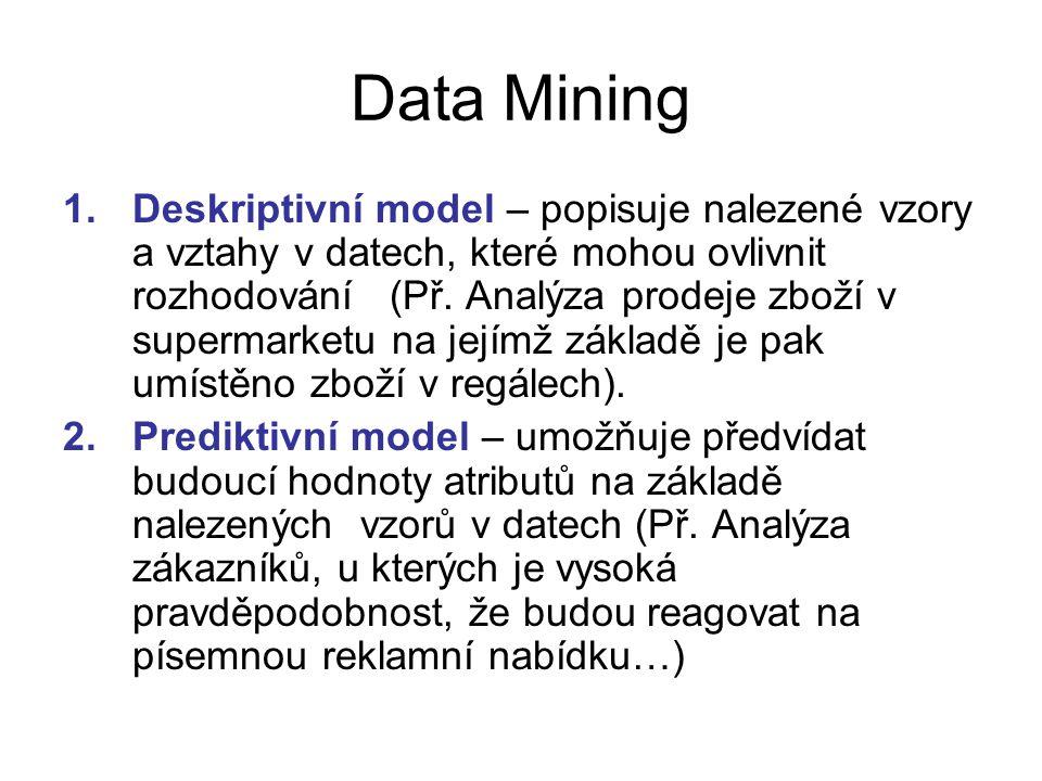 Data Mining 1.Deskriptivní model – popisuje nalezené vzory a vztahy v datech, které mohou ovlivnit rozhodování (Př. Analýza prodeje zboží v supermarke
