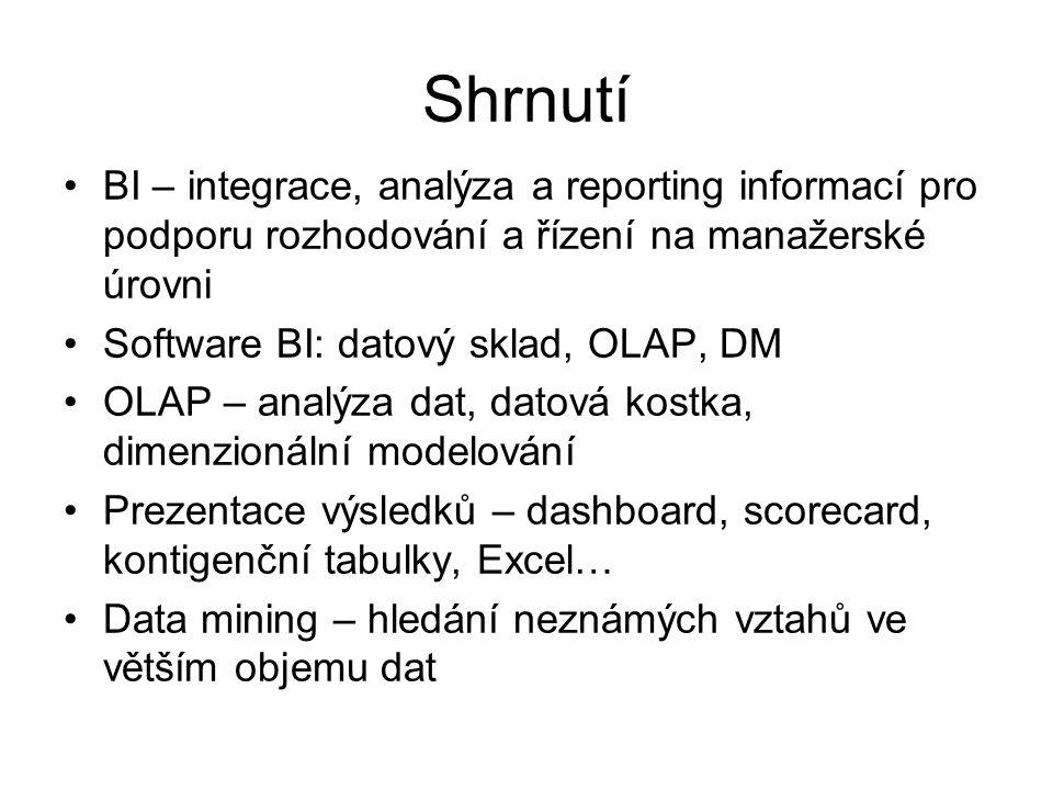 Shrnutí BI – integrace, analýza a reporting informací pro podporu rozhodování a řízení na manažerské úrovni Software BI: datový sklad, OLAP, DM OLAP – analýza dat, datová kostka, dimenzionální modelování Prezentace výsledků – dashboard, scorecard, kontigenční tabulky, Excel… Data mining – hledání neznámých vztahů ve větším objemu dat
