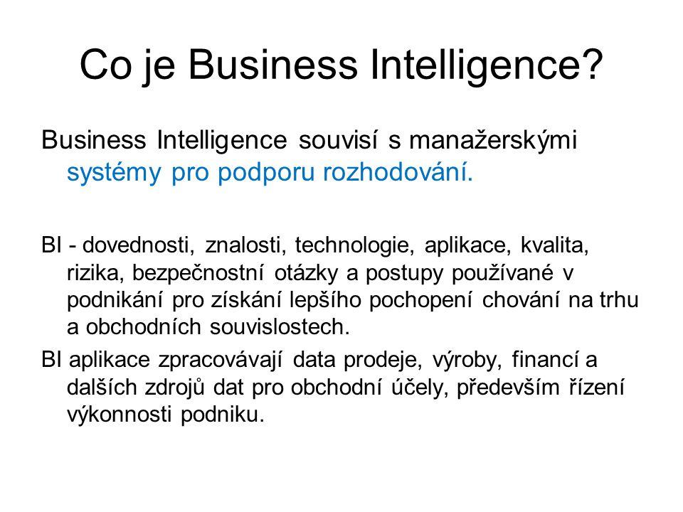 Co je Business Intelligence? Business Intelligence souvisí s manažerskými systémy pro podporu rozhodování. BI - dovednosti, znalosti, technologie, apl