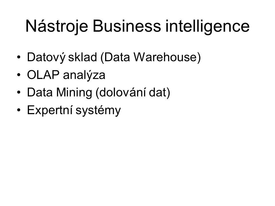 Nástroje Business intelligence Datový sklad (Data Warehouse) OLAP analýza Data Mining (dolování dat) Expertní systémy