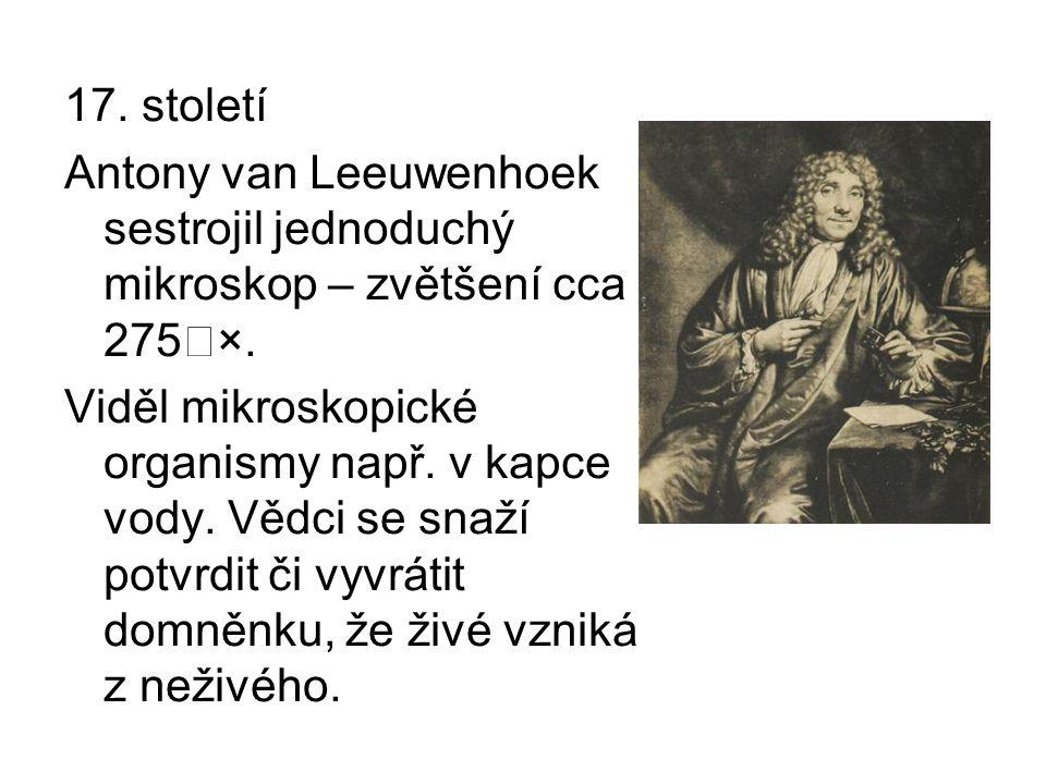17. století Antony van Leeuwenhoek sestrojil jednoduchý mikroskop – zvětšení cca 275˜×. Viděl mikroskopické organismy např. v kapce vody. Vědci se sna
