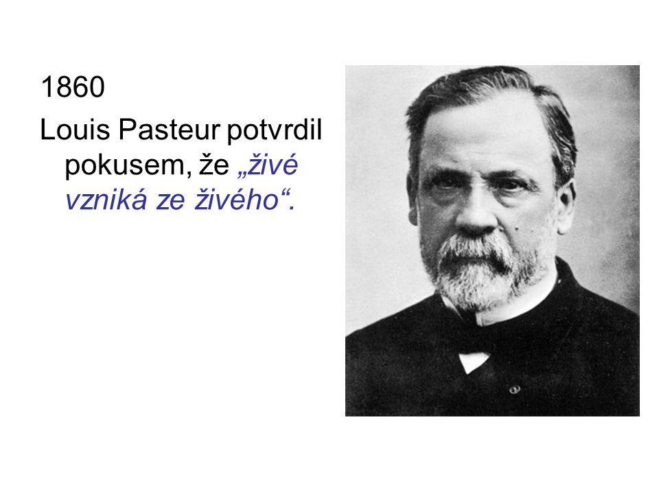 """1860 Louis Pasteur potvrdil pokusem, že """"živé vzniká ze živého""""."""