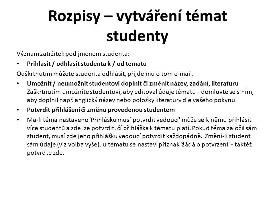 Rozpisy – vytváření témat studenty Význam zatržítek pod jménem studenta: Prihlasit / odhlasit studenta k / od tematu Odškrtnutím můžete studenta odhlásit, přijde mu o tom e-mail.