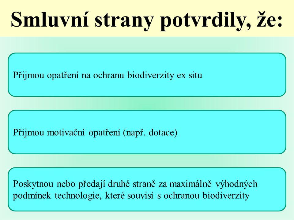 Přijmou opatření na ochranu biodiverzity ex situ Přijmou motivační opatření (např.