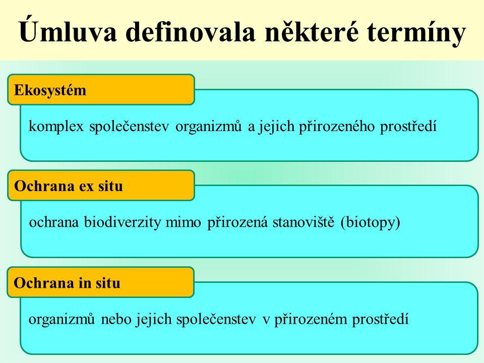komplex společenstev organizmů a jejich přirozeného prostředí Úmluva definovala některé termíny Ekosystém ochrana biodiverzity mimo přirozená stanoviště (biotopy) Ochrana ex situ organizmů nebo jejich společenstev v přirozeném prostředí Ochrana in situ