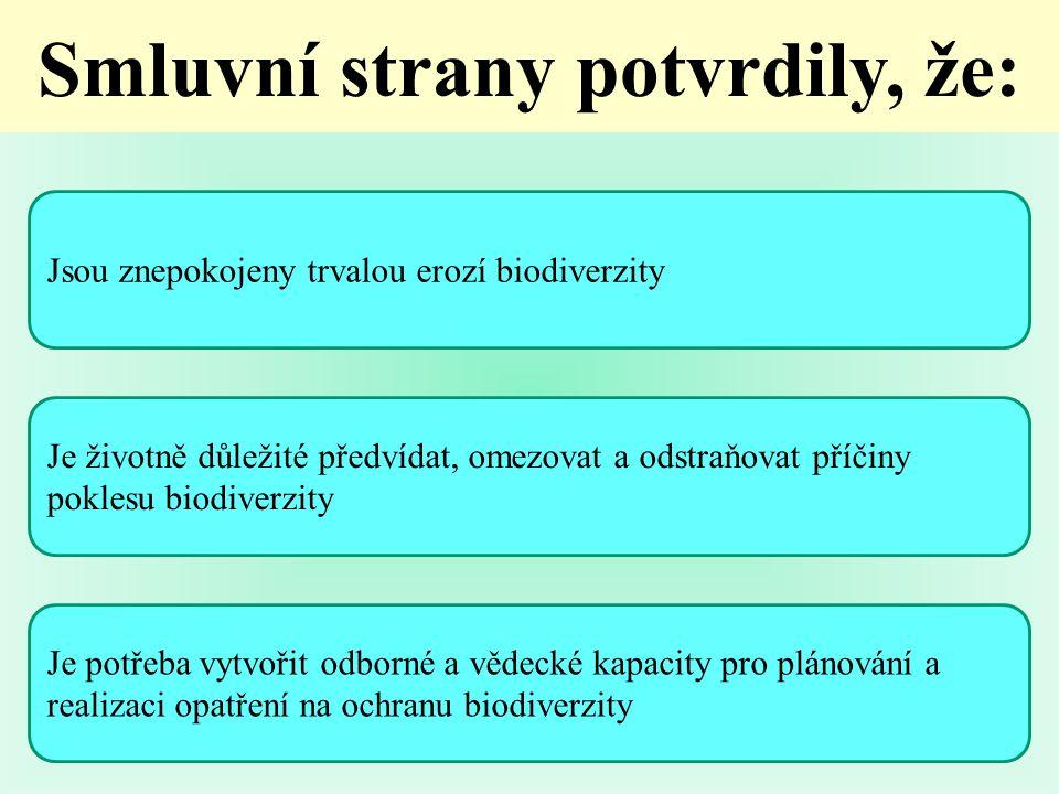 Jsou znepokojeny trvalou erozí biodiverzity Je životně důležité předvídat, omezovat a odstraňovat příčiny poklesu biodiverzity Je potřeba vytvořit odborné a vědecké kapacity pro plánování a realizaci opatření na ochranu biodiverzity Smluvní strany potvrdily, že: