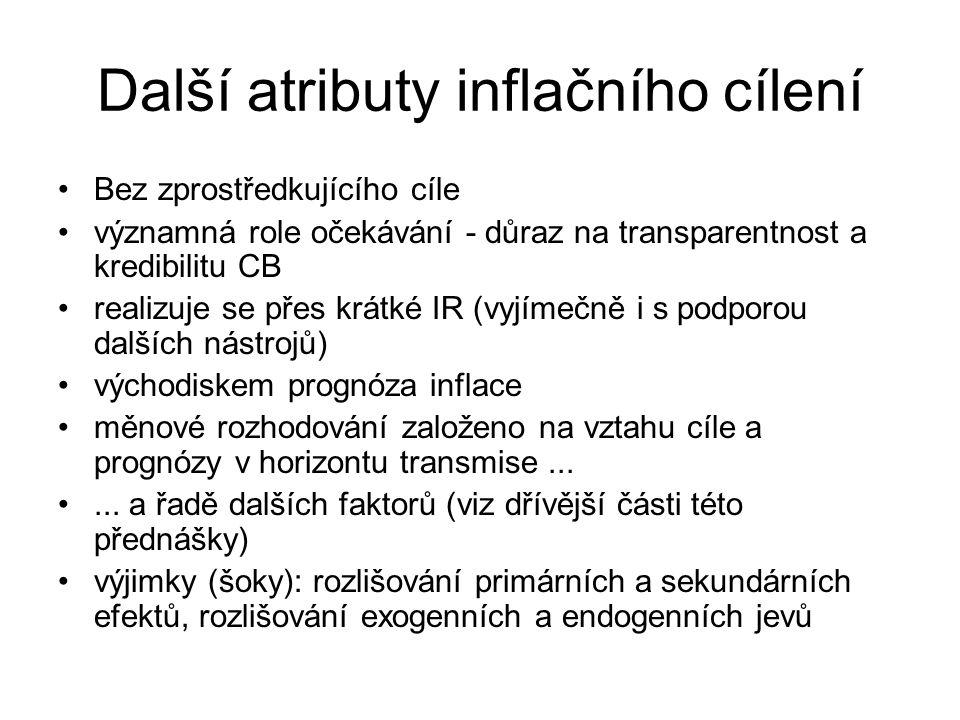 Další atributy inflačního cílení Bez zprostředkujícího cíle významná role očekávání - důraz na transparentnost a kredibilitu CB realizuje se přes krát