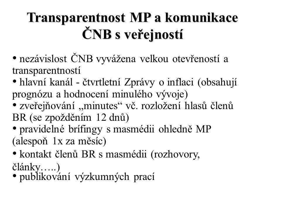 """Transparentnost MP a komunikace ČNB s veřejností nezávislost ČNB vyvážena velkou otevřeností a transparentností hlavní kanál - čtvrtletní Zprávy o inflaci (obsahují prognózu a hodnocení minulého vývoje) zveřejňování """"minutes vč."""