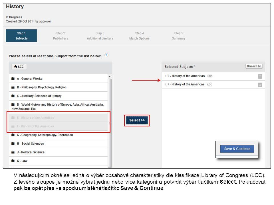Klikněte na Remove pro odstranění titulu z vyhledávacího profilu.