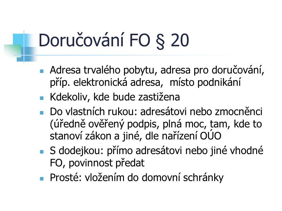 Doručování FO § 20 Adresa trvalého pobytu, adresa pro doručování, příp. elektronická adresa, místo podnikání Kdekoliv, kde bude zastižena Do vlastních
