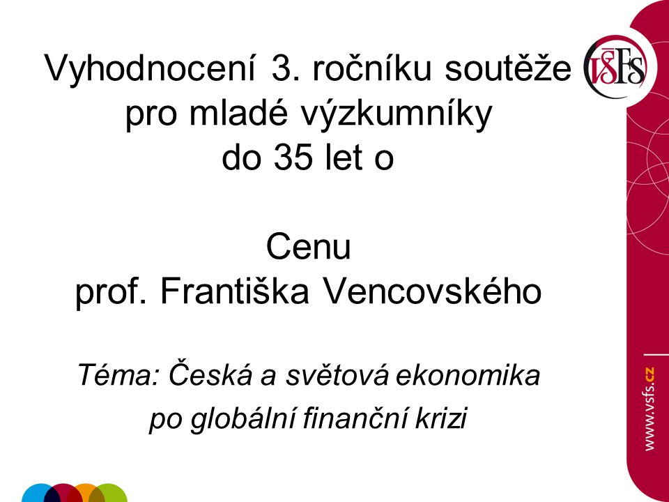 Vyhodnocení 3. ročníku soutěže pro mladé výzkumníky do 35 let o Cenu prof.