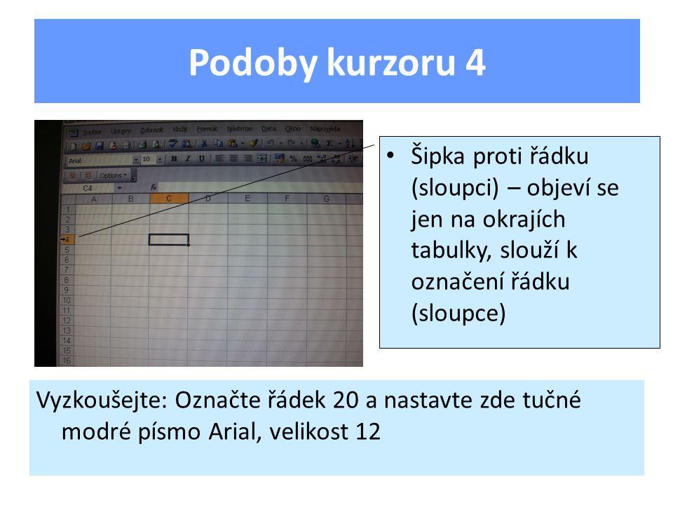 Podoby kurzoru 4 Šipka proti řádku (sloupci) – objeví se jen na okrajích tabulky, slouží k označení řádku (sloupce) Vyzkoušejte: Označte řádek 20 a nastavte zde tučné modré písmo Arial, velikost 12