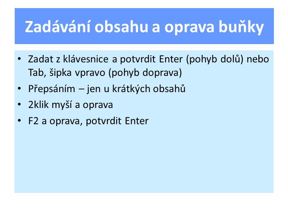 Zadat z klávesnice a potvrdit Enter (pohyb dolů) nebo Tab, šipka vpravo (pohyb doprava) Přepsáním – jen u krátkých obsahů 2klik myší a oprava F2 a oprava, potvrdit Enter Zadávání obsahu a oprava buňky