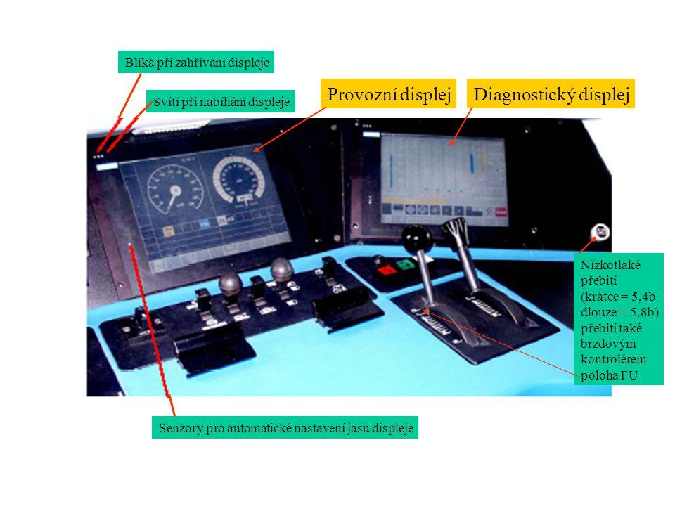 Provozní displej Diagnostický displej Bliká při zahřívání displeje Svítí při nabíhání displeje Senzory pro automatické nastavení jasu displeje Nízkotl