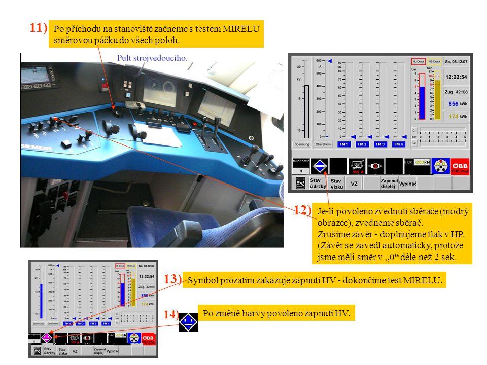 11) Po příchodu na stanoviště začneme s testem MIRELU směrovou páčku do všech poloh. 12) Je-li povoleno zvednutí sběrače (modrý obrazec), zvedneme sbě