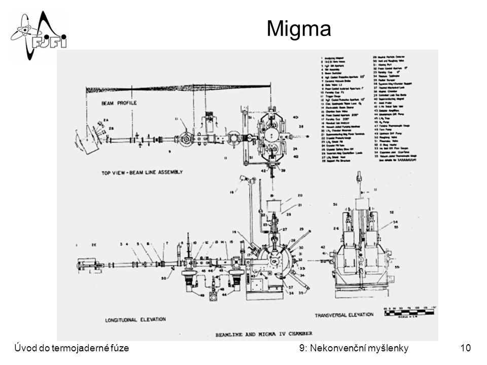 """Úvod do termojaderné fúze9: Nekonvenční myšlenky11 Mionová katalýza - princip Mion – těžký lepton (někdy nepřesně řazený mezi mezony) – funguje jako katalyzátor umožňující fúzi za nízkých teplot: Hlavní obtíž: Stihne si mion energeticky """"vydělat na svoji existenci."""