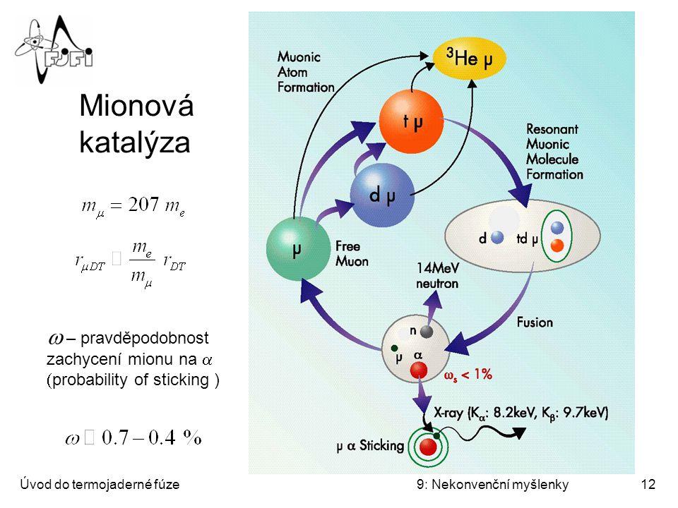 Úvod do termojaderné fúze9: Nekonvenční myšlenky13 Mionová katalýza – bilance TRIUMF ověřil r.