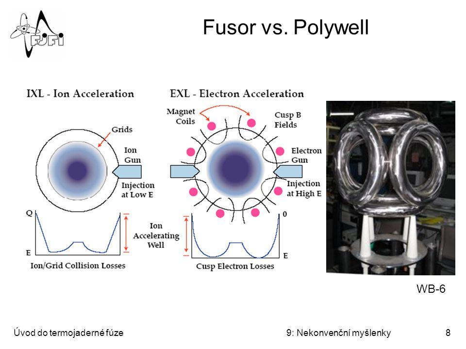 Úvod do termojaderné fúze9: Nekonvenční myšlenky9 Migma Myšlenka: Urychlené ionty vlétávají kolmo do magnetického pole (uspořádaného do zrcadla), těsně míjejí osu cívky a jsou zachyceny na precesních drahách.