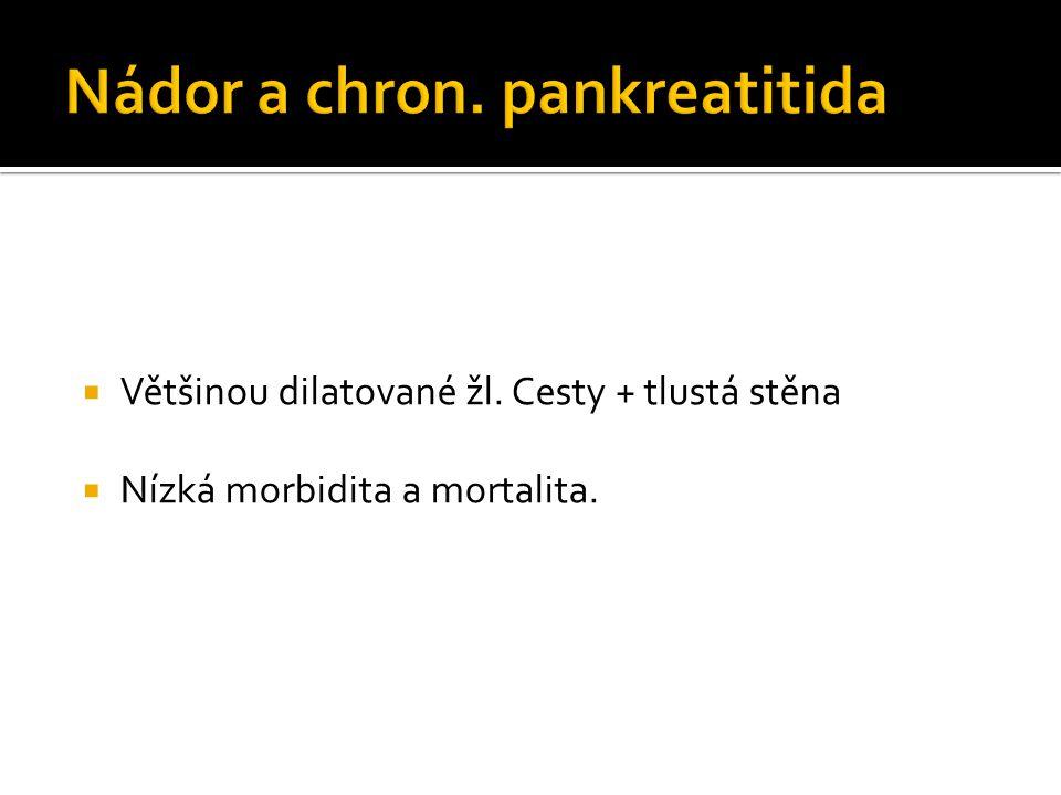  Většinou dilatované žl. Cesty + tlustá stěna  Nízká morbidita a mortalita.