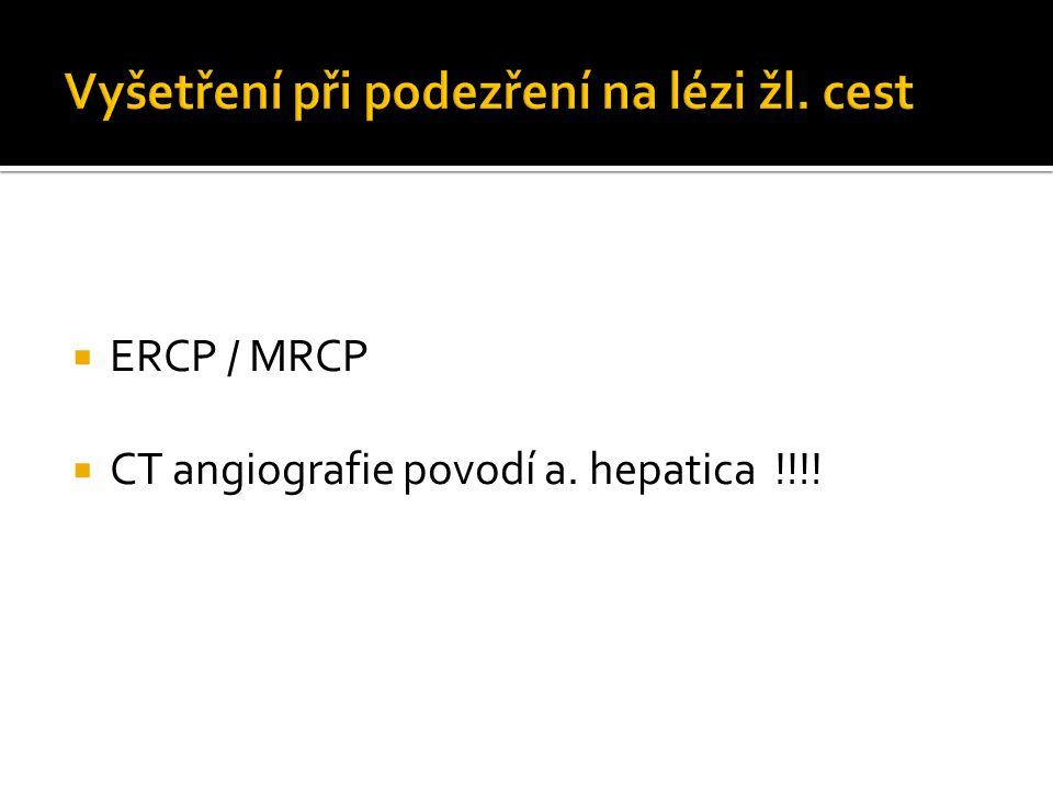  ERCP / MRCP  CT angiografie povodí a. hepatica !!!!