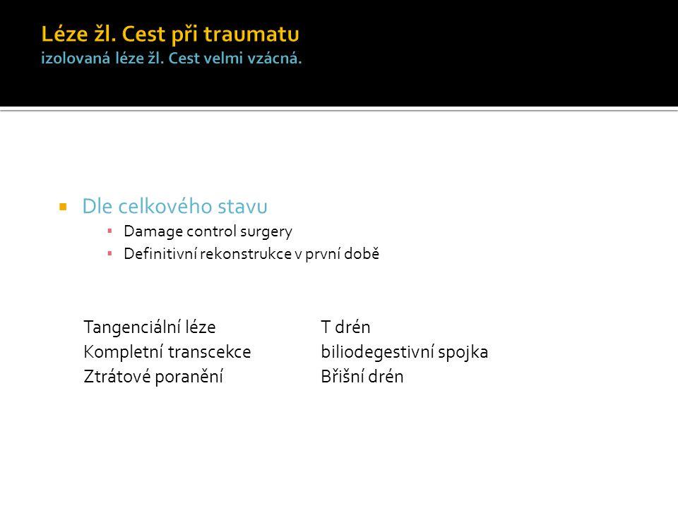  Dle celkového stavu ▪ Damage control surgery ▪ Definitivní rekonstrukce v první době Tangenciální léze T drén Kompletní transcekce biliodegestivní spojka Ztrátové poranění Břišní drén