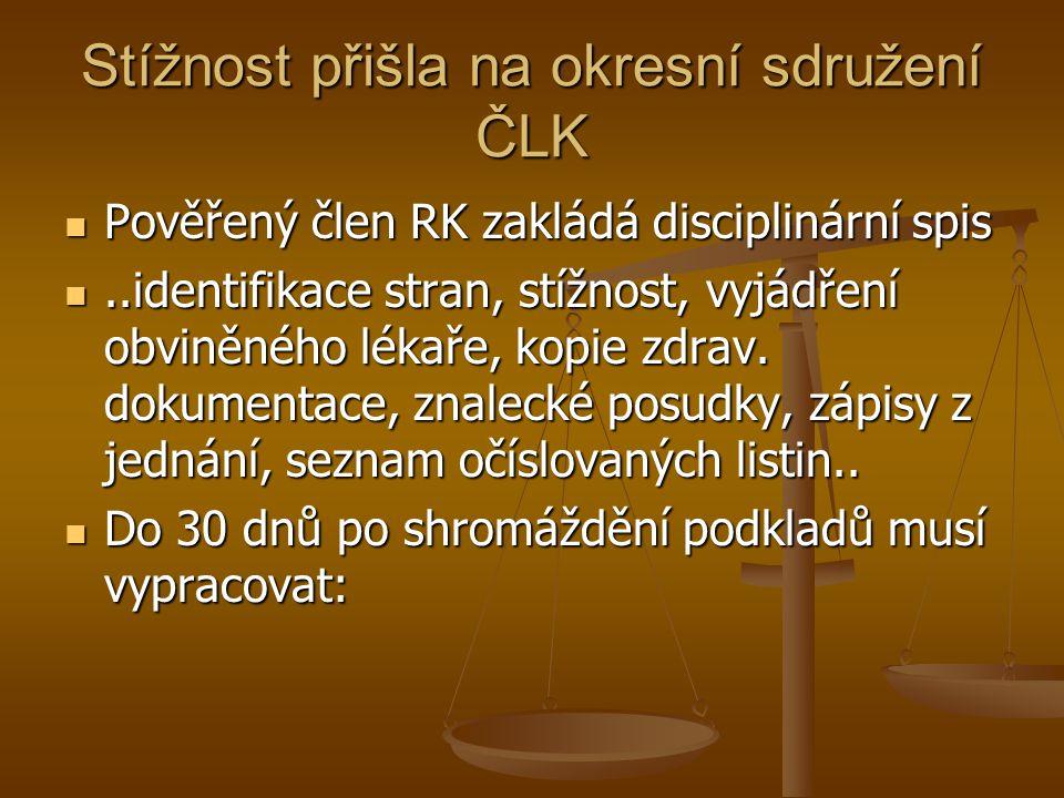 Stížnost přišla na okresní sdružení ČLK Pověřený člen RK zakládá disciplinární spis Pověřený člen RK zakládá disciplinární spis..identifikace stran, stížnost, vyjádření obviněného lékaře, kopie zdrav.