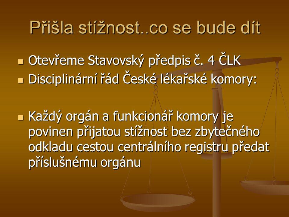 Přišla stížnost..co se bude dít Otevřeme Stavovský předpis č.