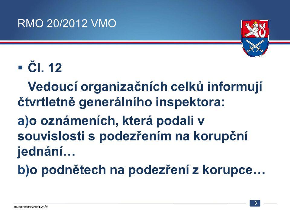 MINISTERSTVO OBRANY ČR RMO 20/2012 VMO  Čl. 12 Vedoucí organizačních celků informují čtvrtletně generálního inspektora: a)o oznámeních, která podali