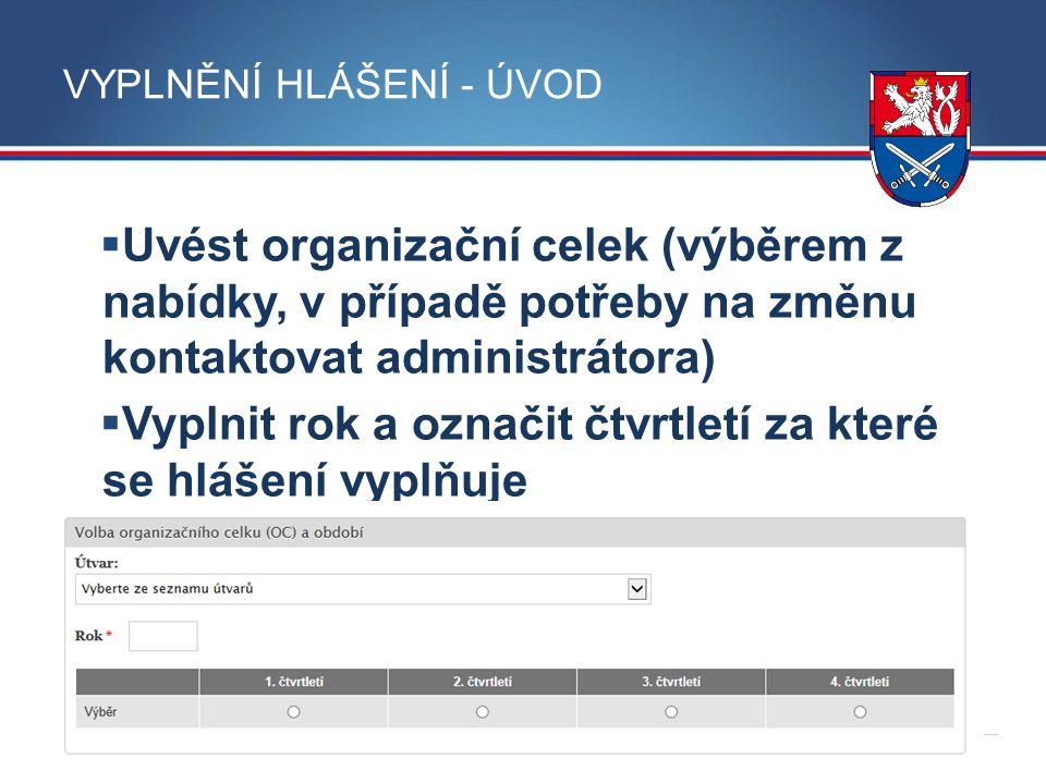 MINISTERSTVO OBRANY ČR VYPLNĚNÍ HLÁŠENÍ - ÚVOD  Uvést organizační celek (výběrem z nabídky, v případě potřeby na změnu kontaktovat administrátora) 