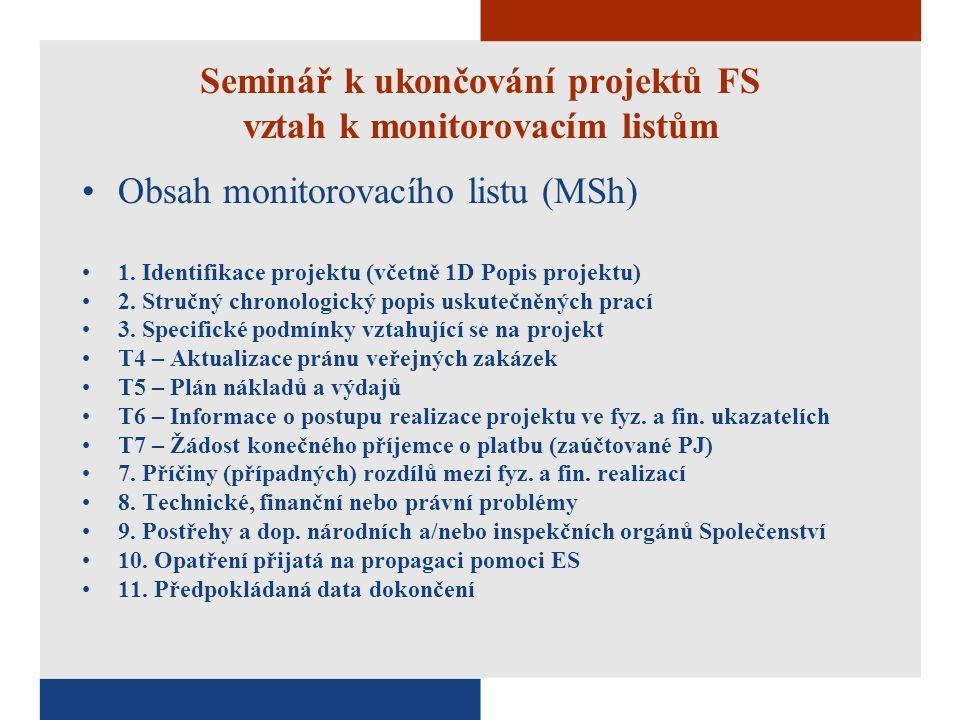 Seminář k ukončování projektů FS vztah k monitorovacím listům Obsah monitorovacího listu (MSh) 1.