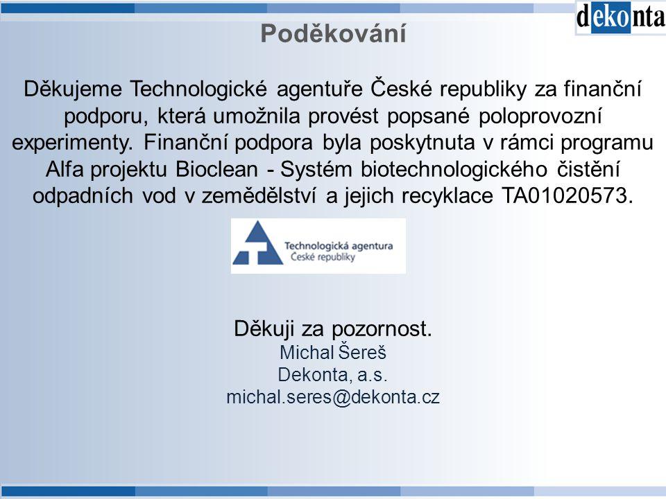 Poděkování Děkujeme Technologické agentuře České republiky za finanční podporu, která umožnila provést popsané poloprovozní experimenty. Finanční podp