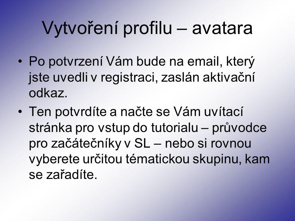 Vytvoření profilu – avatara Po potvrzení Vám bude na email, který jste uvedli v registraci, zaslán aktivační odkaz.