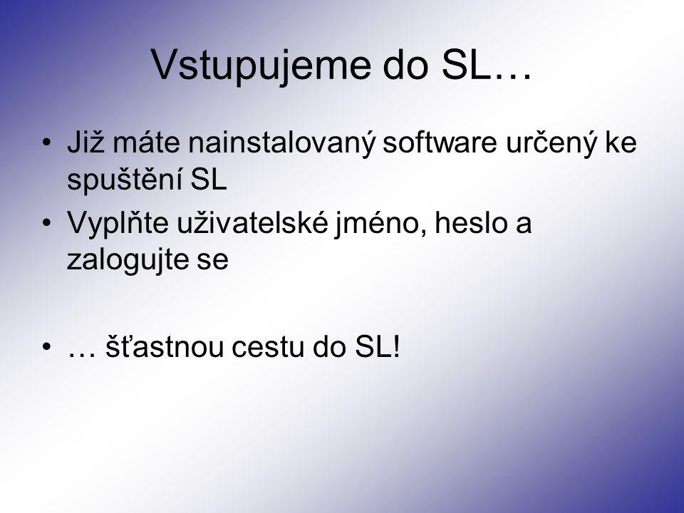 Vstupujeme do SL… Již máte nainstalovaný software určený ke spuštění SL Vyplňte uživatelské jméno, heslo a zalogujte se … šťastnou cestu do SL!