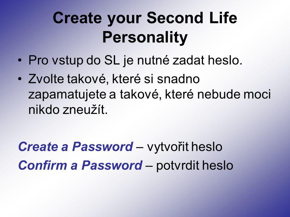 Create your Second Life Personality Pro vstup do SL je nutné zadat heslo.