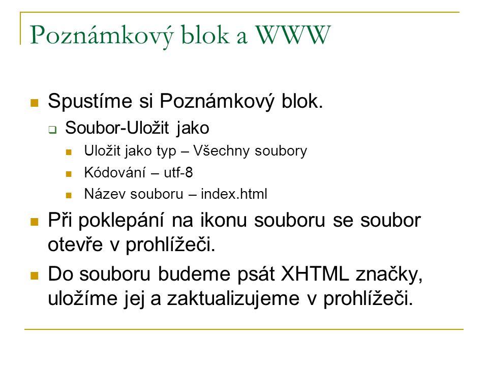 Poznámkový blok a WWW Spustíme si Poznámkový blok.  Soubor-Uložit jako Uložit jako typ – Všechny soubory Kódování – utf-8 Název souboru – index.html