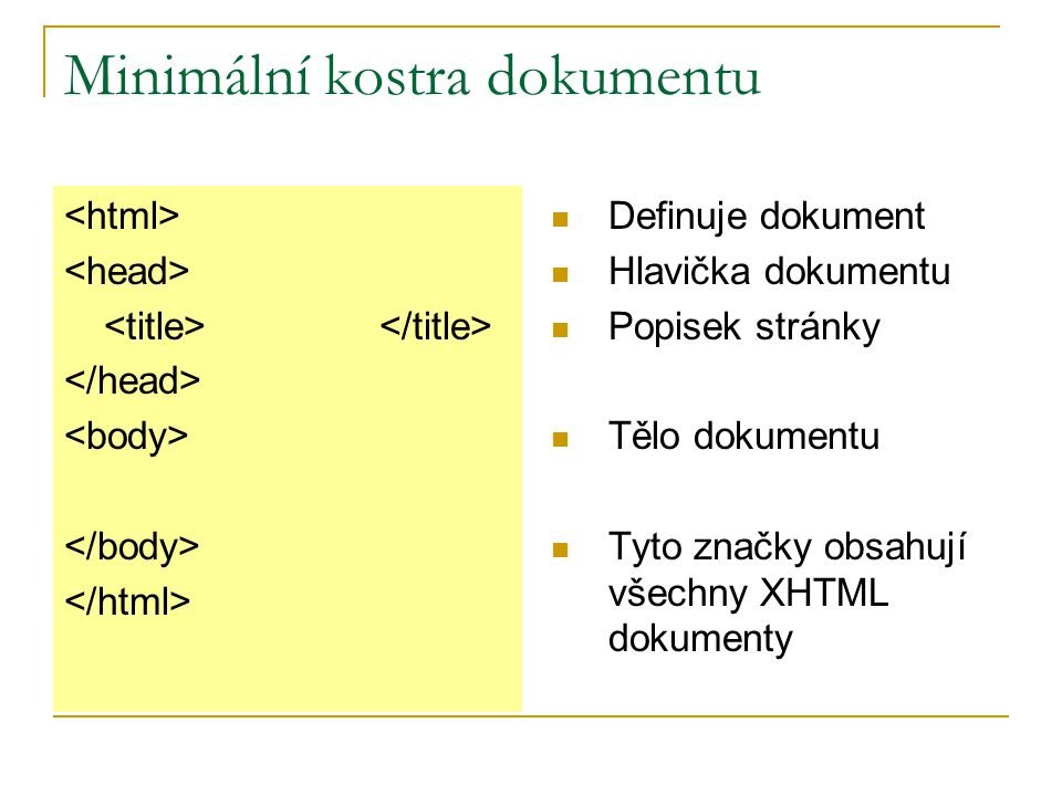 Minimální kostra dokumentu Definuje dokument Hlavička dokumentu Popisek stránky Tělo dokumentu Tyto značky obsahují všechny XHTML dokumenty