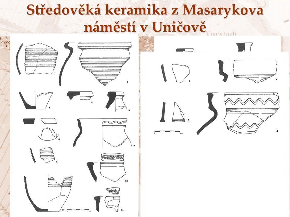 Středověká keramika z Masarykova náměstí v Uničově